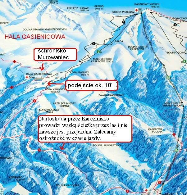 Gąsienicowa - mapa tras
