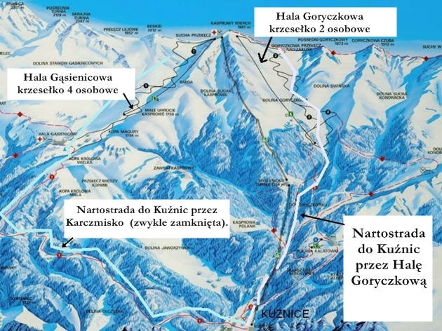 Kasprowy Wierch - mapa tras