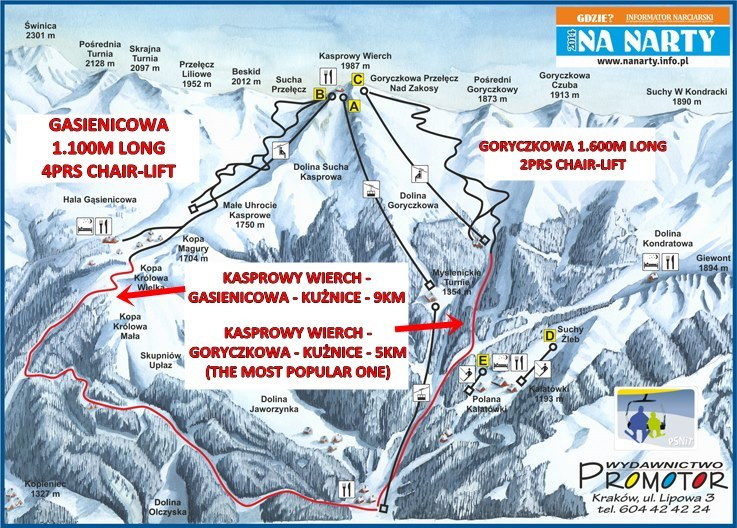 Ski pistes on Kasprowy Wieerch (for advanced skiers and snowboarders only!)