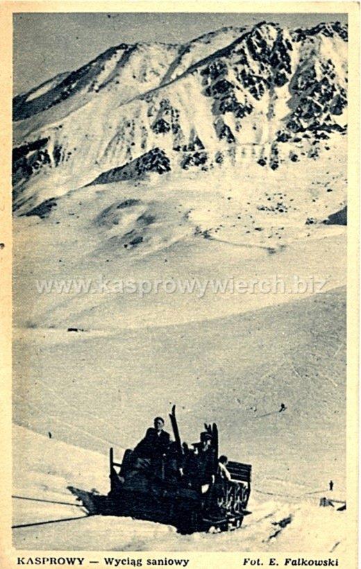 Wyciąg saniowy na Gąsienicowej! Pocztówka z roku 1949